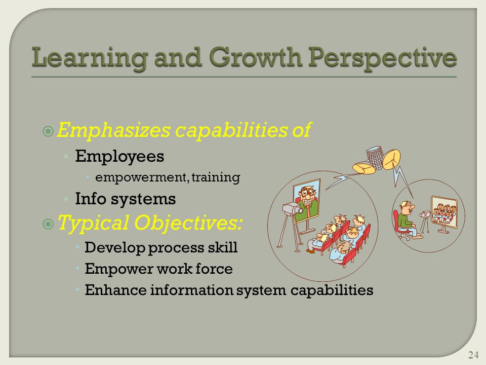  Emphasizes capabilities of Employees  empowerment, training Info systems  Typical Objectives:  Develop process skill  Empower work force  Enhance information system capabilities 24