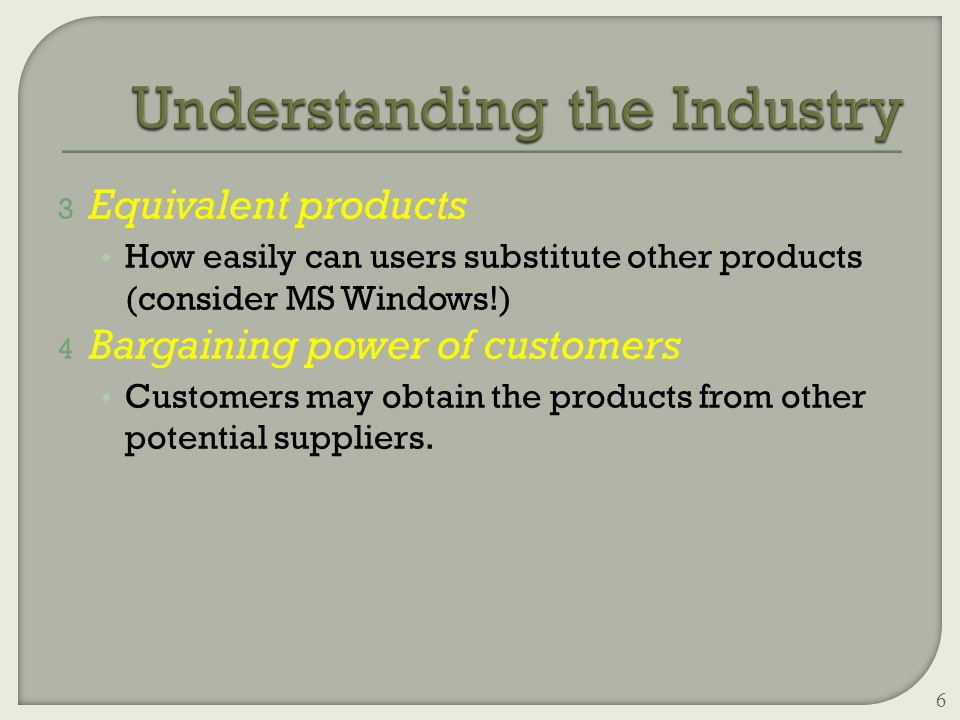 3 Equivalent products How easily can users substitute other products (consider MS Windows!) 4 Bargaining power of customers Customers may obtain the products from other potential suppliers.