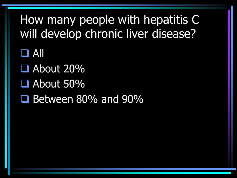 How many people with hepatitis C will develop chronic liver disease.