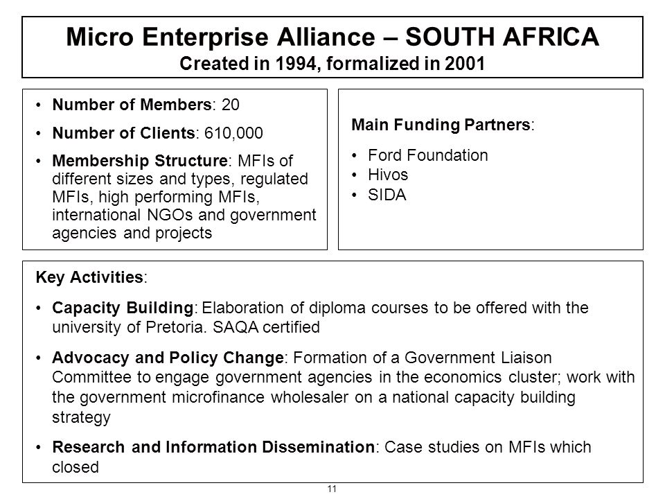 11 Number of Members: 20 Number of Clients: 610,000 Membership Structure: MFIs of different sizes and types, regulated MFIs, high performing MFIs, international NGOs and government agencies and projects Main Funding Partners: Ford Foundation Hivos SIDA Key Activities: Capacity Building: Elaboration of diploma courses to be offered with the university of Pretoria.