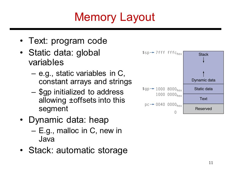 Memory Layout Text: program code Static data: global variables –e.g., static variables in C, constant arrays and strings –$gp initialized to address allowing ±offsets into this segment Dynamic data: heap –E.g., malloc in C, new in Java Stack: automatic storage 11