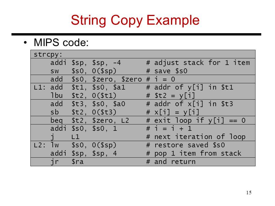 String Copy Example MIPS code: strcpy: addi $sp, $sp, -4 # adjust stack for 1 item sw $s0, 0($sp) # save $s0 add $s0, $zero, $zero # i = 0 L1: add $t1