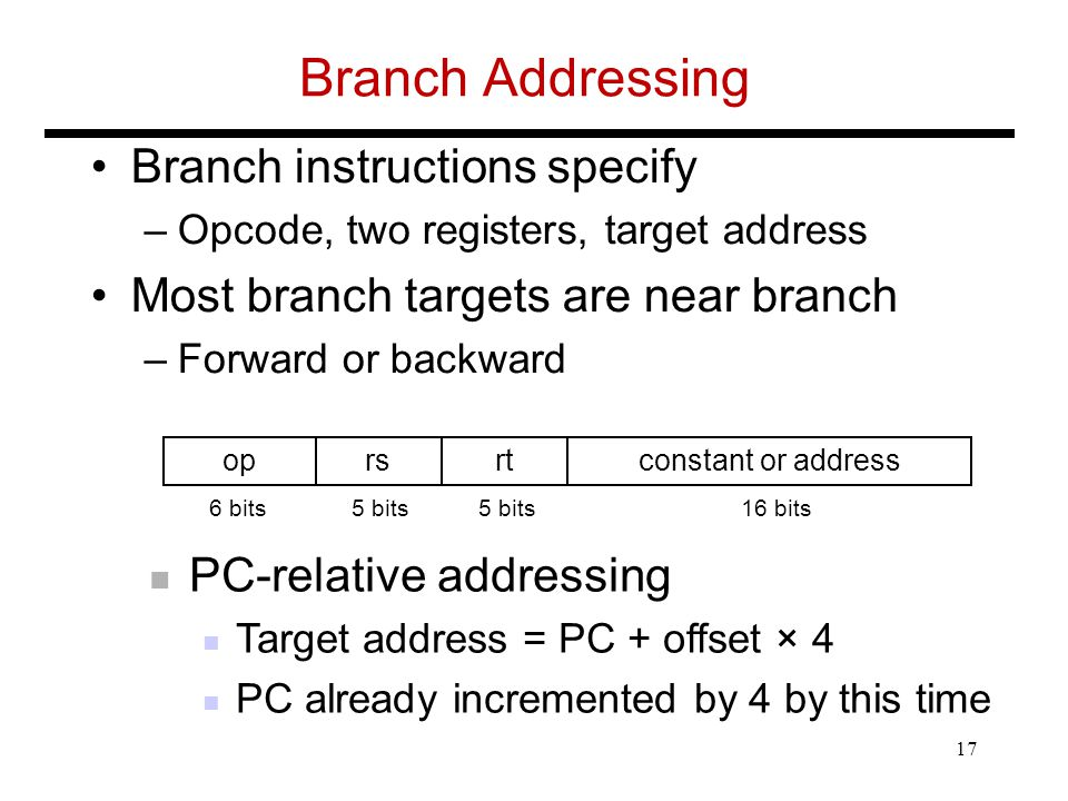 Branch Addressing Branch instructions specify –Opcode, two registers, target address Most branch targets are near branch –Forward or backward oprsrtconstant or address 6 bits5 bits 16 bits PC-relative addressing Target address = PC + offset × 4 PC already incremented by 4 by this time 17