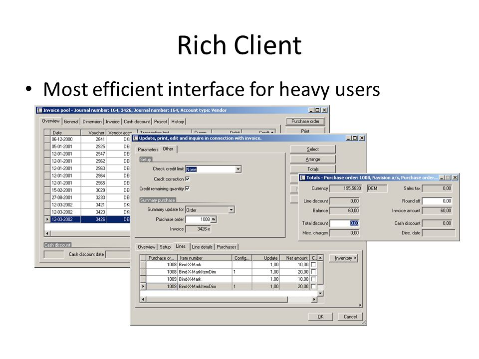 Rich Client Most efficient interface for heavy users