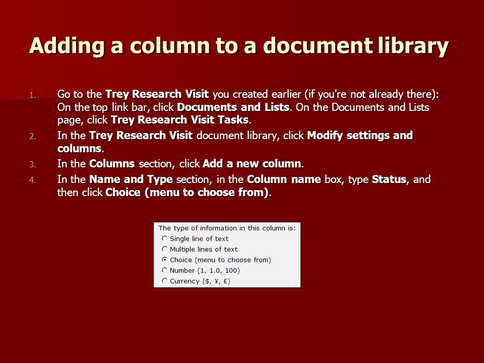 Adding a column to a document library 1.