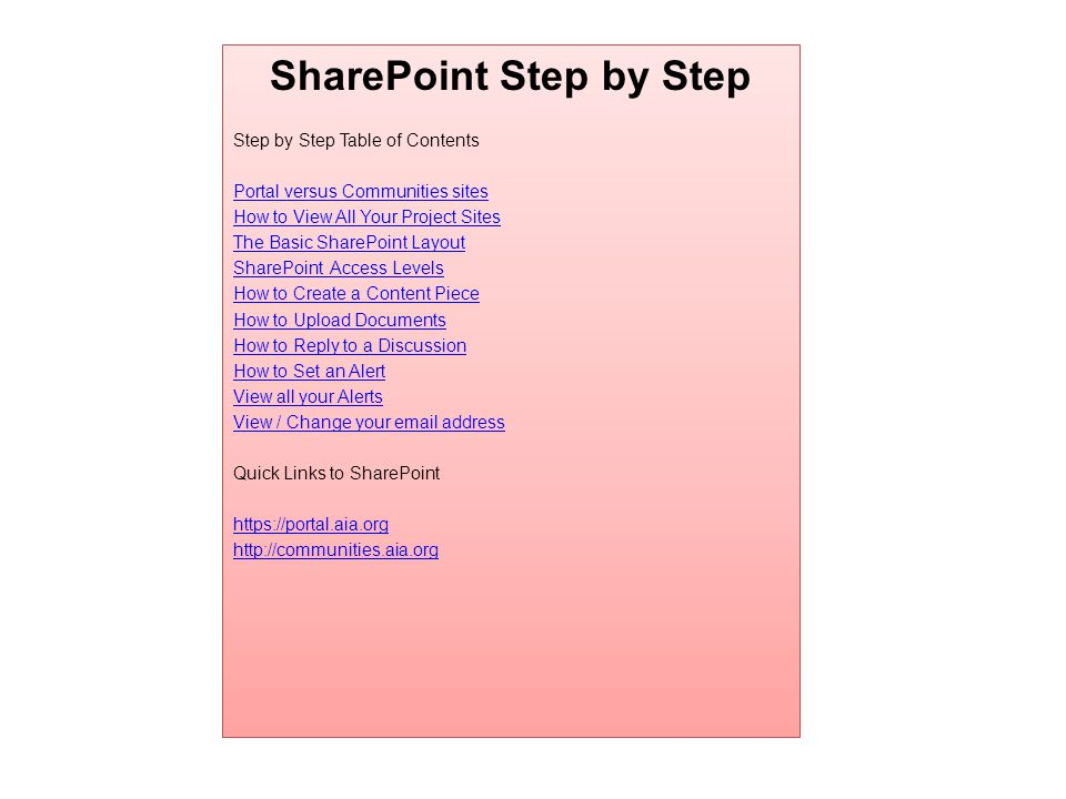 SharePoint Step by Step Step by Step Table of Contents Portal versus Communities sites How to View All Your Project Sites The Basic SharePoint Layout SharePoint Access Levels How to Create a Content Piece How to Upload Documents How to Reply to a Discussion How to Set an Alert View all your Alerts View / Change your  address Quick Links to SharePoint