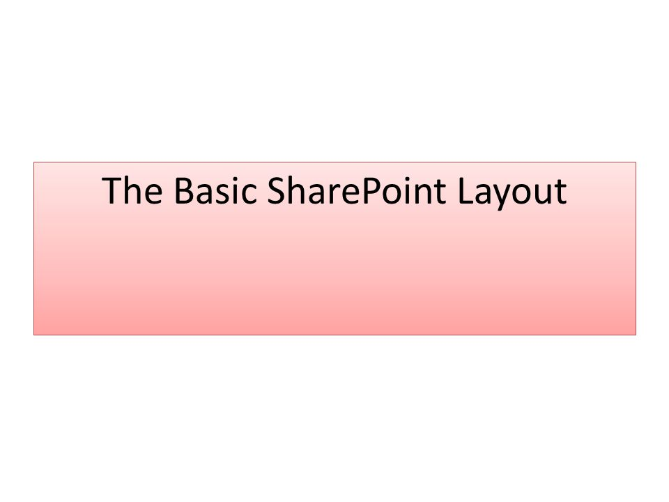 The Basic SharePoint Layout