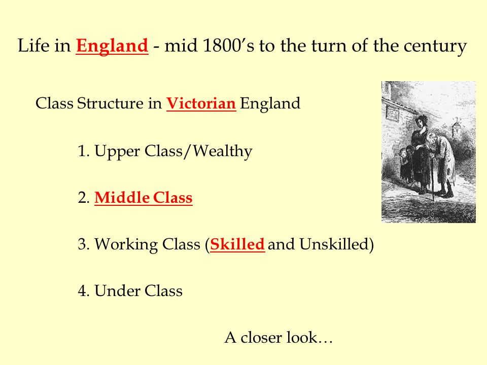 social classes of mid victorian england essay Research and discuss classism in england during victorian times what were the social classes of of women in victorian england essay should be well.