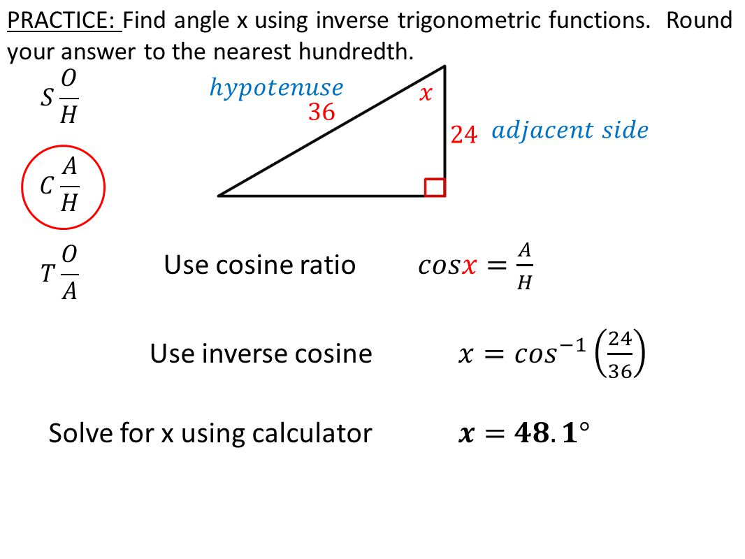 worksheet Inverse Trigonometric Ratios today in algebra 2 review solving for a given side 8