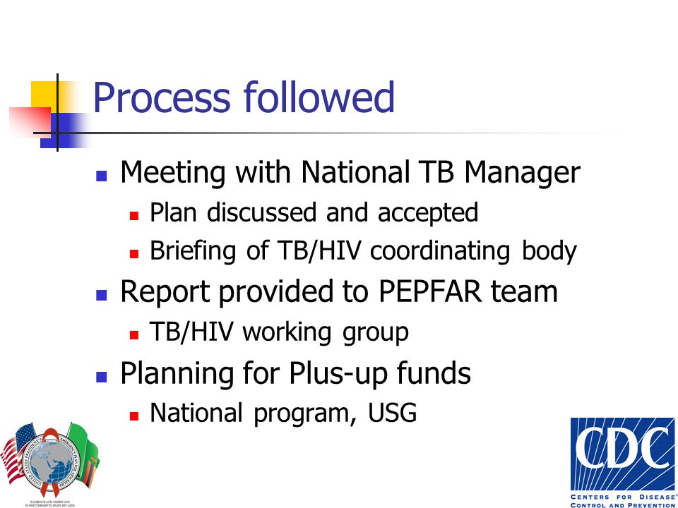 Process followed Meeting with National TB Manager Plan discussed and accepted Briefing of TB/HIV coordinating body Report provided to PEPFAR team TB/HIV working group Planning for Plus-up funds National program, USG