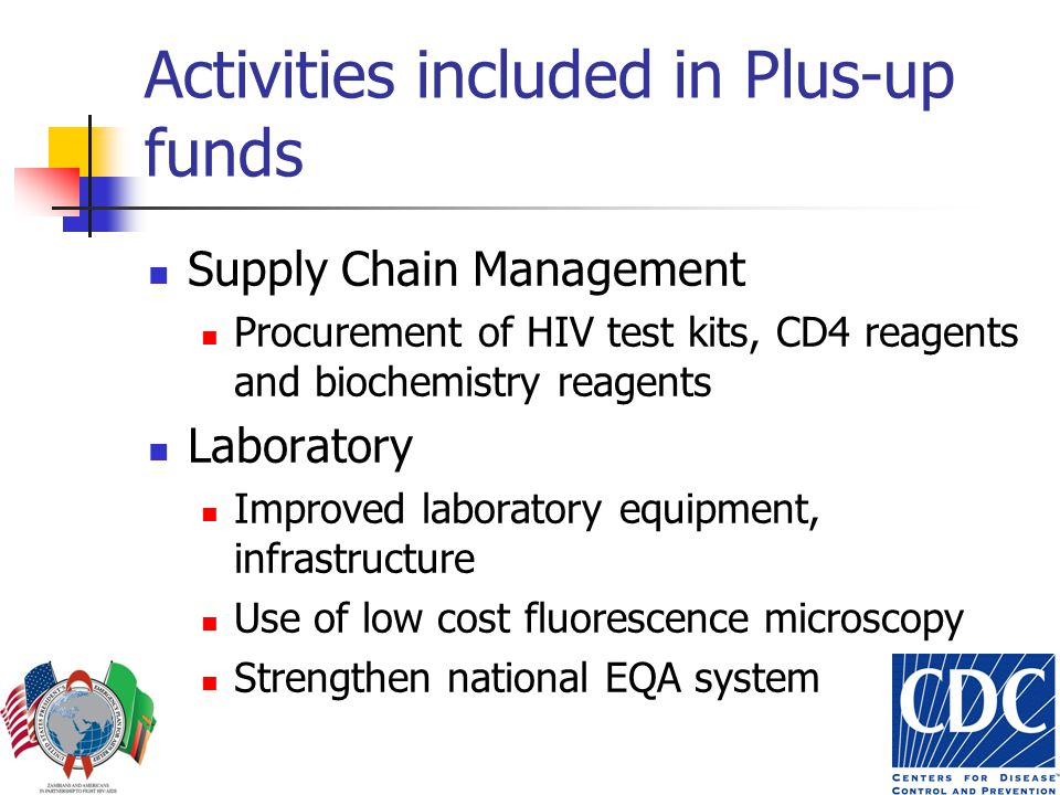 Activities included in Plus-up funds Supply Chain Management Procurement of HIV test kits, CD4 reagents and biochemistry reagents Laboratory Improved laboratory equipment, infrastructure Use of low cost fluorescence microscopy Strengthen national EQA system