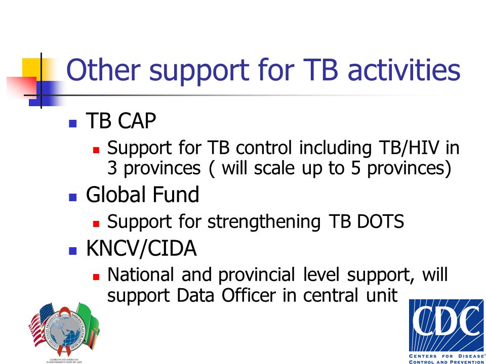 Other support for TB activities TB CAP Support for TB control including TB/HIV in 3 provinces ( will scale up to 5 provinces) Global Fund Support for strengthening TB DOTS KNCV/CIDA National and provincial level support, will support Data Officer in central unit