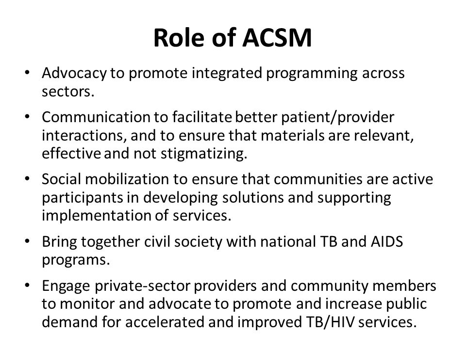 Role of ACSM Advocacy to promote integrated programming across sectors.