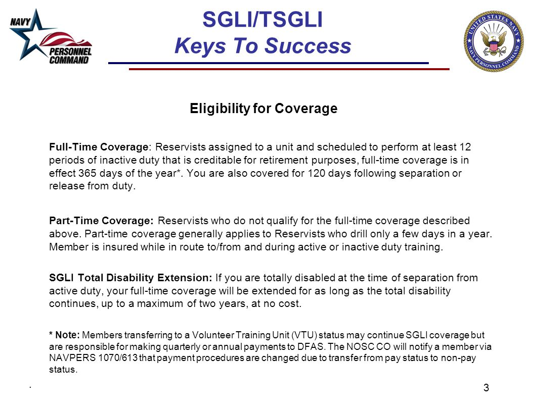 Sgli and tsgli overview keys to success 2 sglitsgli keys to 3 sglitsgli keys to success eligibility for coverage full time coverage reservists 1betcityfo Images