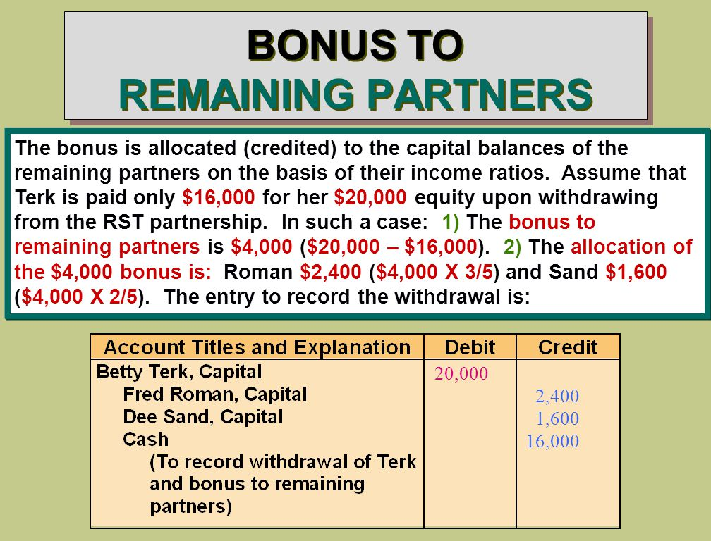 BONUS TO REMAINING PARTNERS The bonus is allocated (credited) to the capital balances of the remaining partners on the basis of their income ratios.