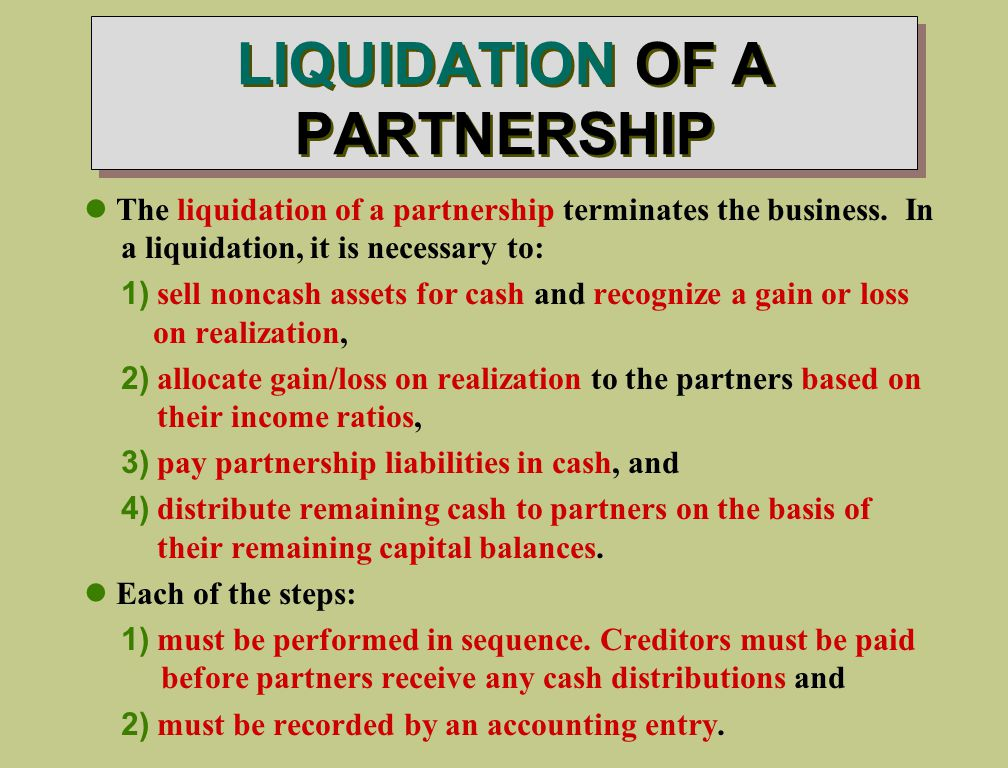 LIQUIDATION OF A PARTNERSHIP The liquidation of a partnership terminates the business.