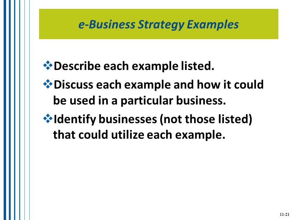 11-21 e-Business Strategy Examples  Describe each example listed.