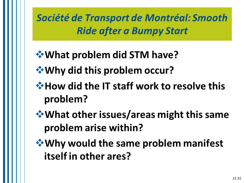 11-32 Société de Transport de Montréal: Smooth Ride after a Bumpy Start  What problem did STM have.