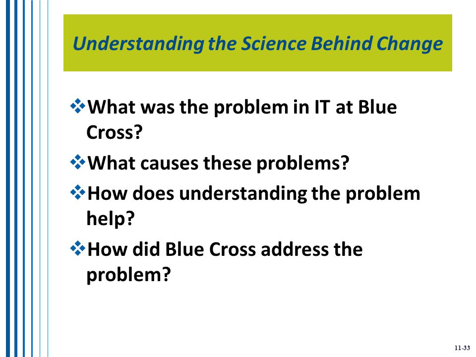 11-33 Understanding the Science Behind Change  What was the problem in IT at Blue Cross.