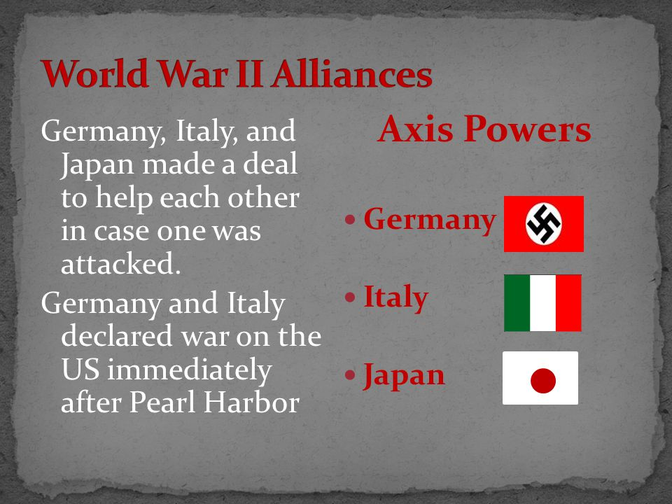 Germany, Italy, and Japan made a deal to help each other in case one was attacked.