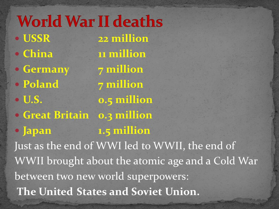 USSR22 million China11 million Germany7 million Poland7 million U.S.0.5 million Great Britain 0.3 million Japan1.5 million Just as the end of WWI led to WWII, the end of WWII brought about the atomic age and a Cold War between two new world superpowers: The United States and Soviet Union.