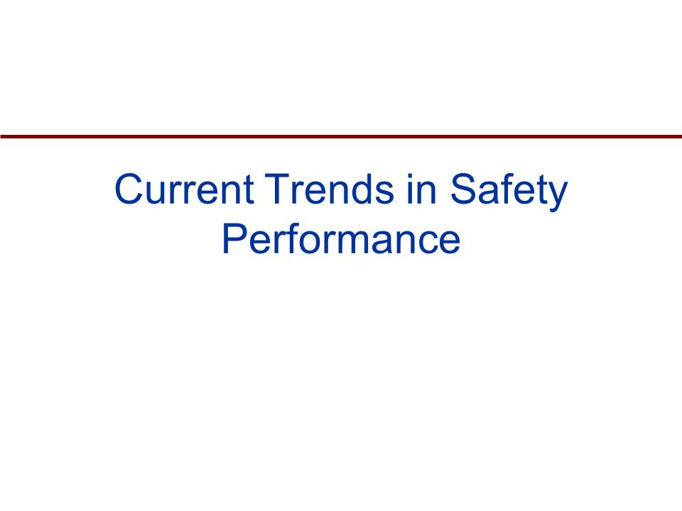 Current Trends in Safety Performance