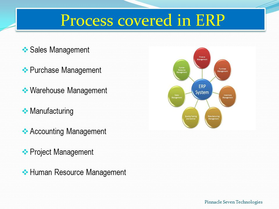 Process covered in ERP  Sales Management  Purchase Management  Warehouse Management  Manufacturing  Accounting Management  Project Management  Human Resource Management Pinnacle Seven Technologies