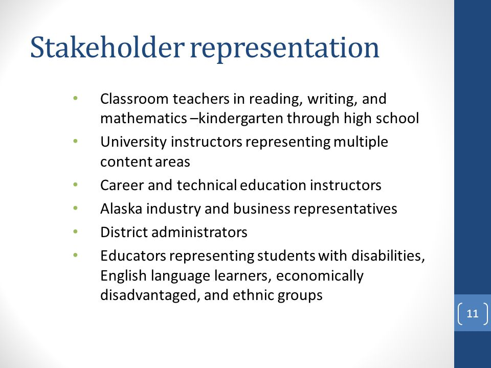 Stakeholder representation Classroom teachers in reading, writing, and mathematics –kindergarten through high school University instructors representing multiple content areas Career and technical education instructors Alaska industry and business representatives District administrators Educators representing students with disabilities, English language learners, economically disadvantaged, and ethnic groups 11
