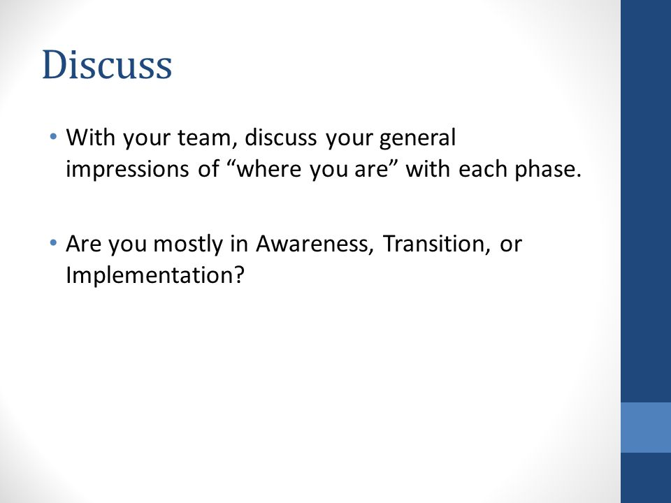 Discuss With your team, discuss your general impressions of where you are with each phase.