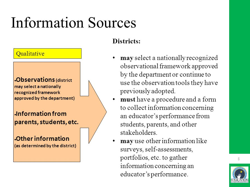 Information Sources Districts: may select a nationally recognized observational framework approved by the department or continue to use the observation tools they have previously adopted.