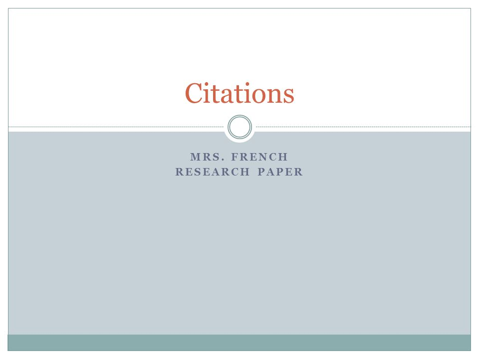 Research paper documentation