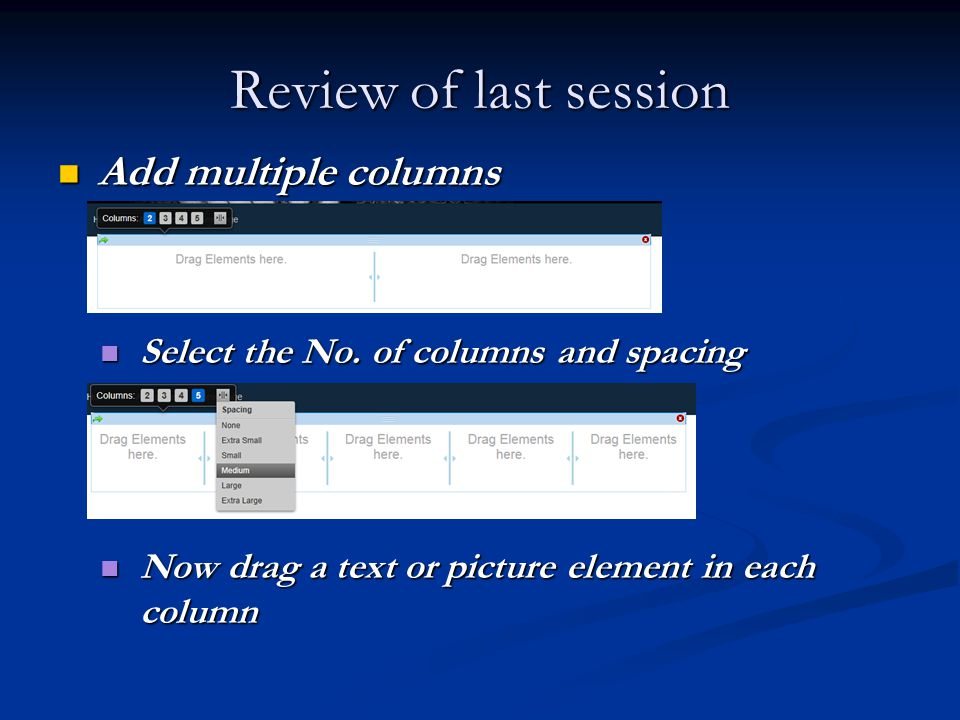 Review of last session Add multiple columns Add multiple columns Select the No.