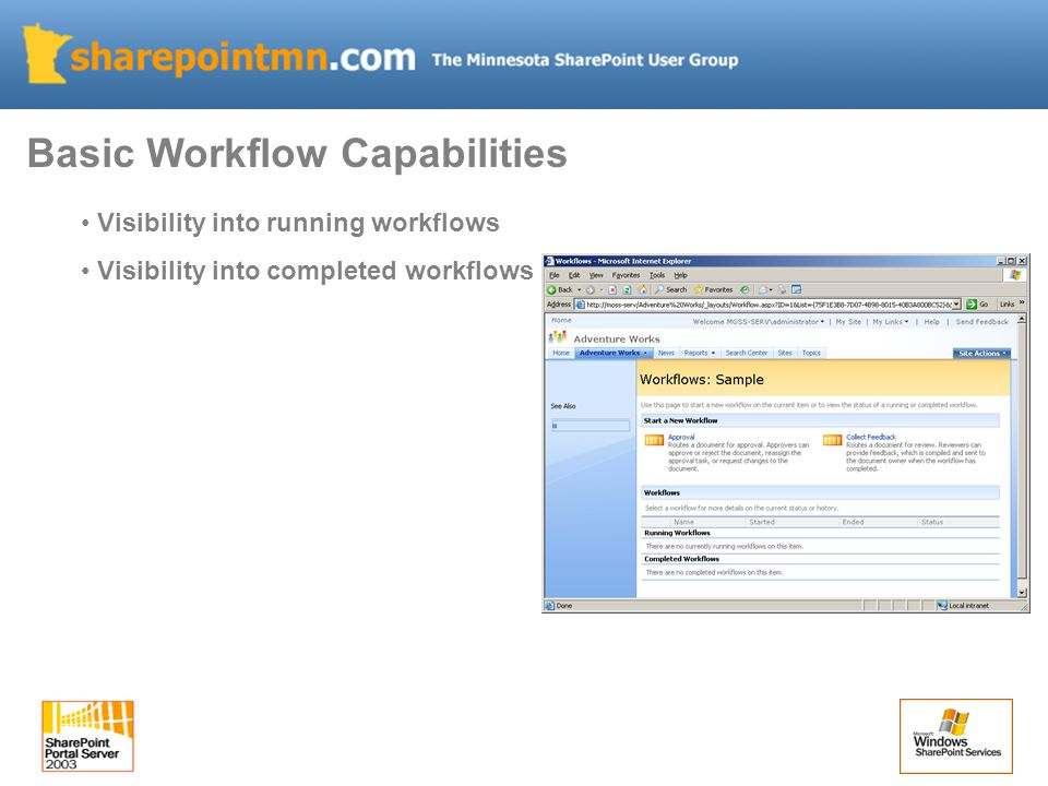 Visibility into running workflows Visibility into completed workflows Basic Workflow Capabilities