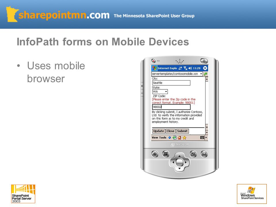InfoPath forms on Mobile Devices Uses mobile browser