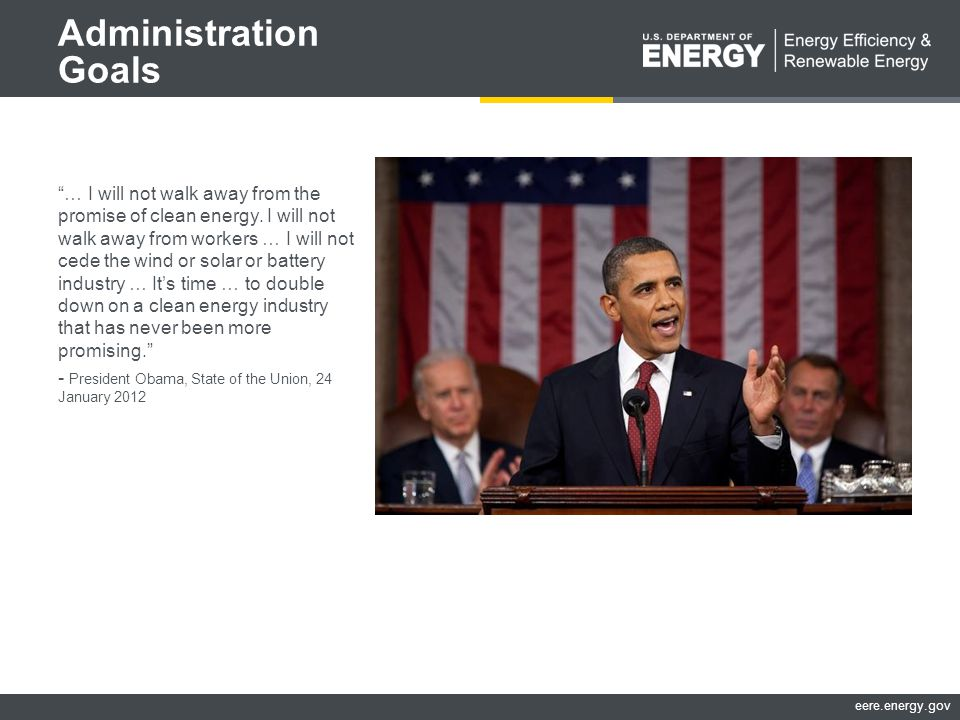 eere.energy.gov Administration Goals … I will not walk away from the promise of clean energy.
