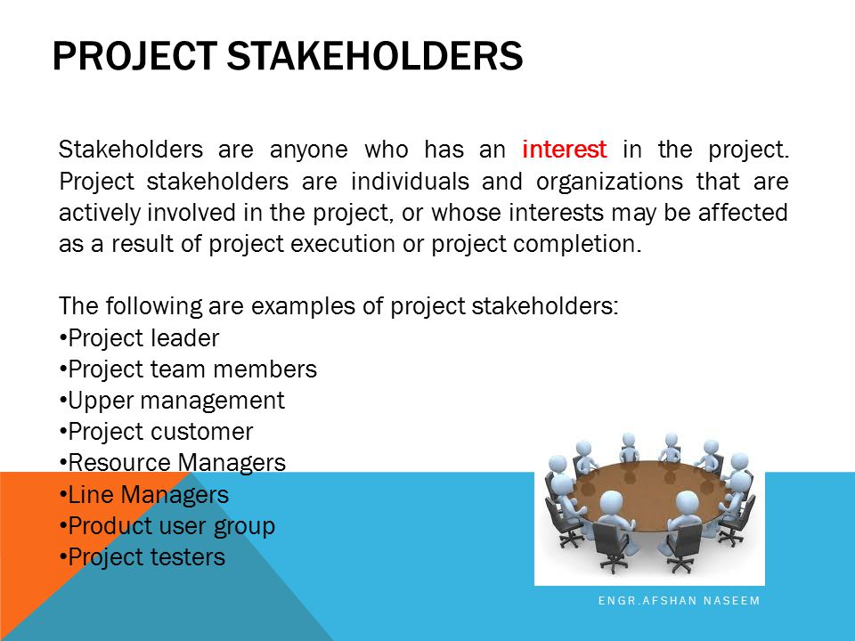 PROJECT STAKEHOLDERS ENGR.AFSHAN NASEEM Stakeholders are anyone who has an interest in the project. Project stakeholders are individuals and organizat