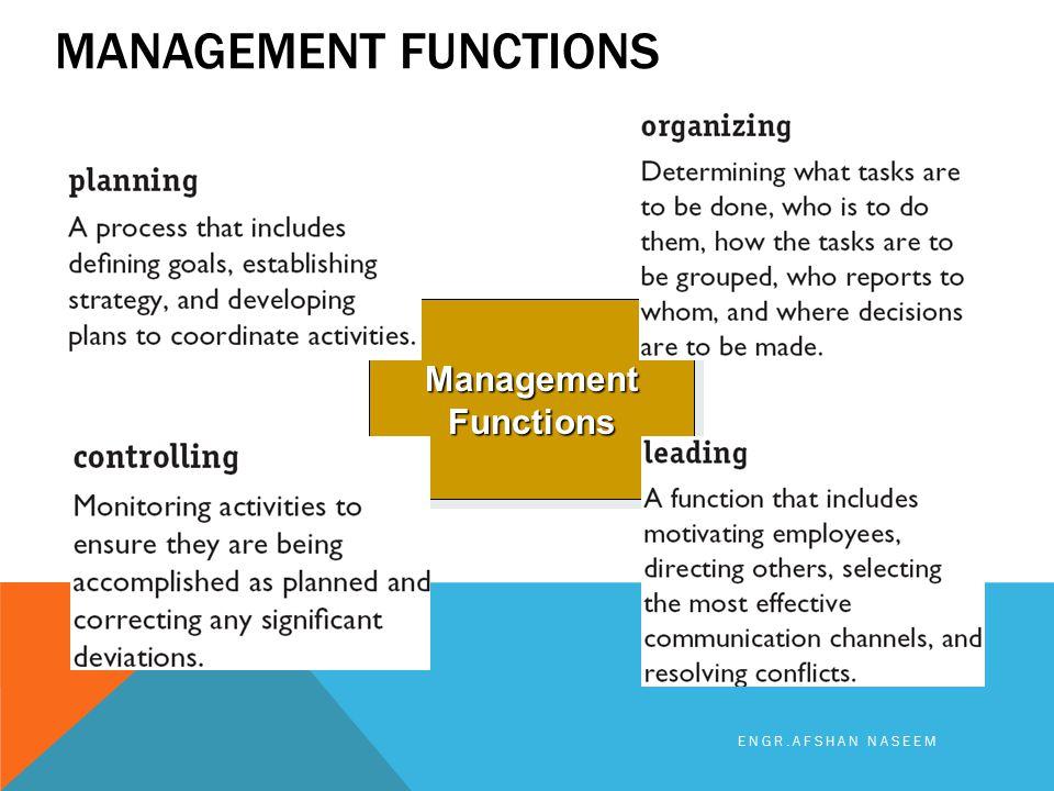 MANAGEMENT FUNCTIONS Management Functions ENGR.AFSHAN NASEEM