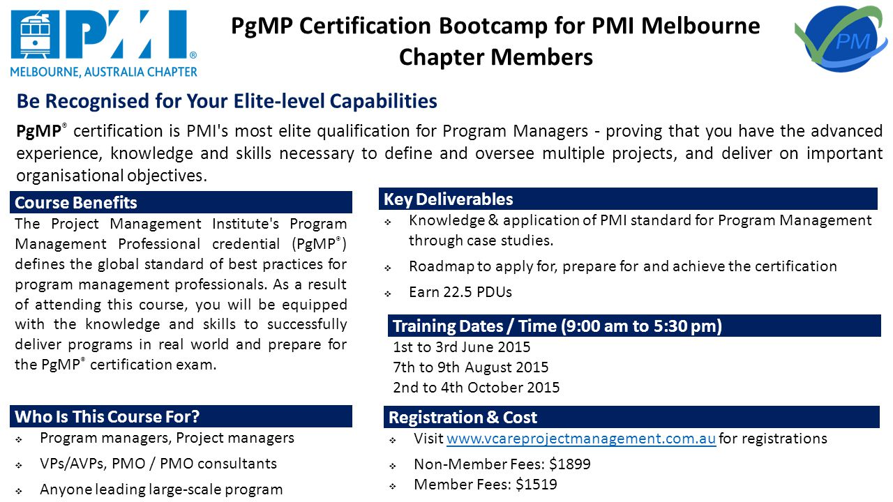Professional training programs for pmi melbourne chapter members pgmp certification bootcamp for pmi melbourne chapter members be recognised for your elite level capabilities xflitez Gallery