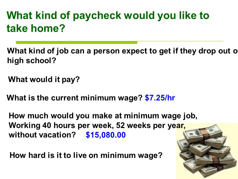 What kind of paycheck would you like to take home.