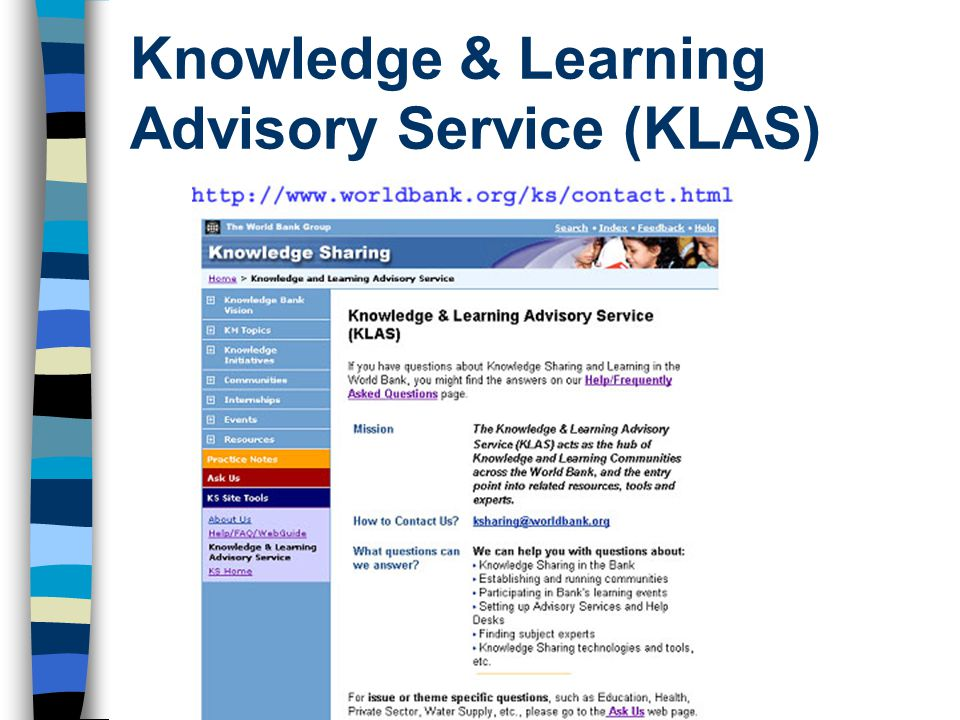 Knowledge & Learning Advisory Service (KLAS)