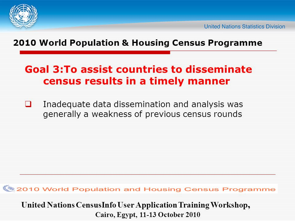 United Nations CensusInfo User Application Training Workshop, Cairo, Egypt, October World Population & Housing Census Programme Goal 3:To assist countries to disseminate census results in a timely manner  Inadequate data dissemination and analysis was generally a weakness of previous census rounds