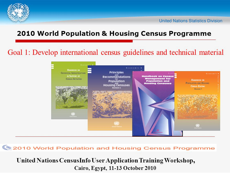 United Nations CensusInfo User Application Training Workshop, Cairo, Egypt, October World Population & Housing Census Programme Goal 1: Develop international census guidelines and technical material