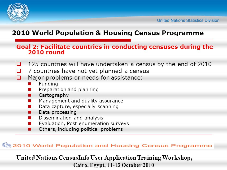United Nations CensusInfo User Application Training Workshop, Cairo, Egypt, October World Population & Housing Census Programme Goal 2: Facilitate countries in conducting censuses during the 2010 round  125 countries will have undertaken a census by the end of 2010  7 countries have not yet planned a census  Major problems or needs for assistance: Funding Preparation and planning Cartography Management and quality assurance Data capture, especially scanning Data processing Dissemination and analysis Evaluation, Post enumeration surveys Others, including political problems