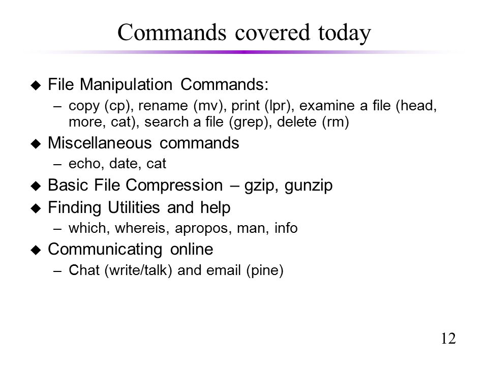 12 Commands covered today u File Manipulation Commands: –copy (cp), rename (mv), print (lpr), examine a file (head, more, cat), search a file (grep), delete (rm) u Miscellaneous commands –echo, date, cat u Basic File Compression – gzip, gunzip u Finding Utilities and help –which, whereis, apropos, man, info u Communicating online –Chat (write/talk) and  (pine)