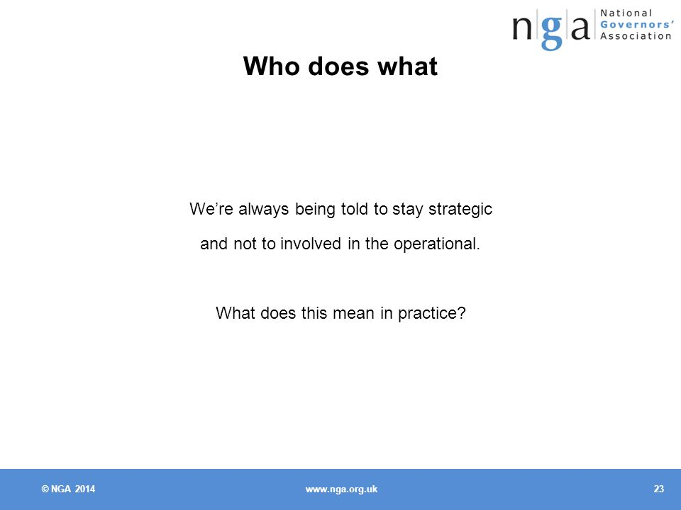 © NGA Who does what We're always being told to stay strategic and not to involved in the operational.