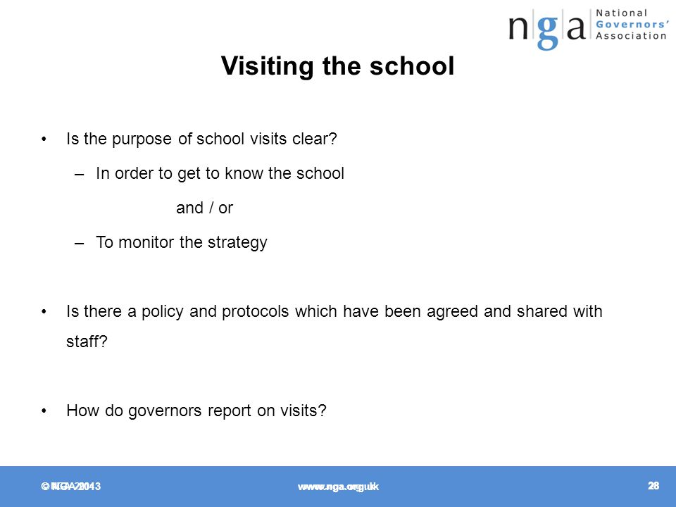 © NGA Visiting the school Is the purpose of school visits clear.