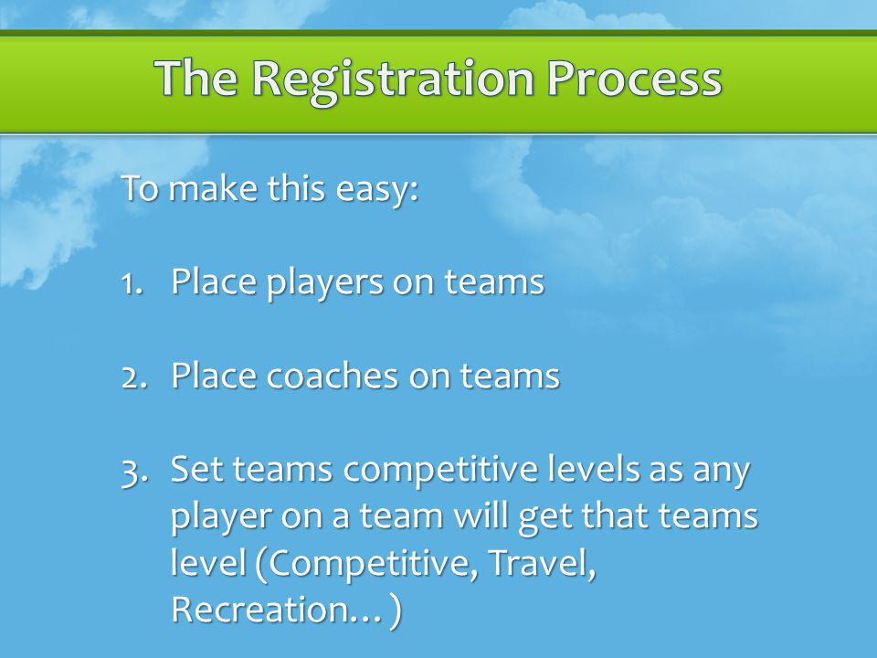 To make this easy: 1.Place players on teams 2.Place coaches on teams 3.Set teams competitive levels as any player on a team will get that teams level (Competitive, Travel, Recreation…)
