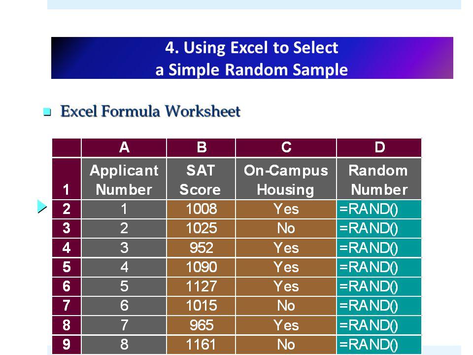 DATA Exploration Statistics One Variable 1Basic EXCELLMATLAB – Random Sampling Worksheet