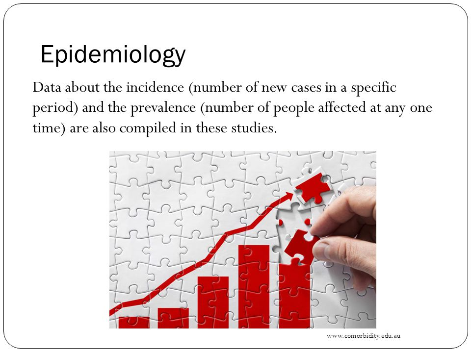 Epidemiology Data about the incidence (number of new cases in a specific period) and the prevalence (number of people affected at any one time) are also compiled in these studies.