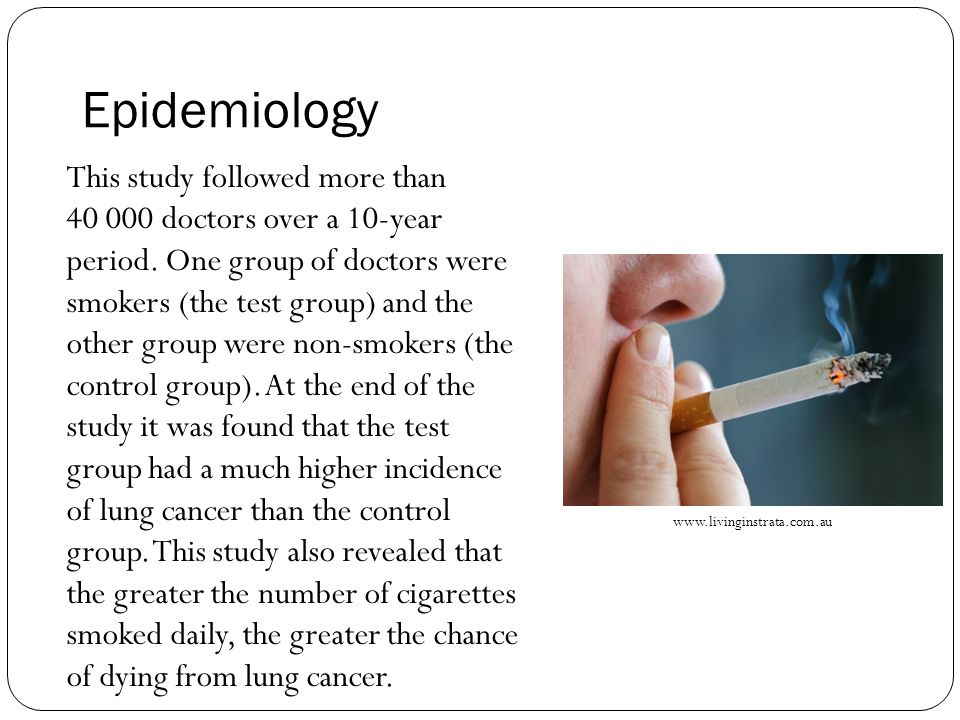 Epidemiology This study followed more than doctors over a 10-year period.
